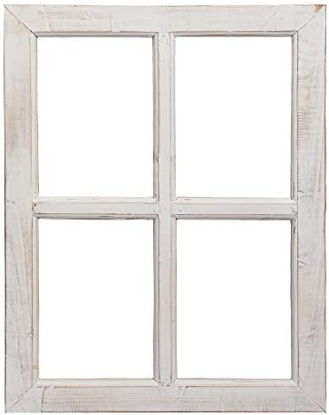 Barnyard Designs Rustic White Barn Wood Window Frame Decorative Country Farmhouse Home Wall product image