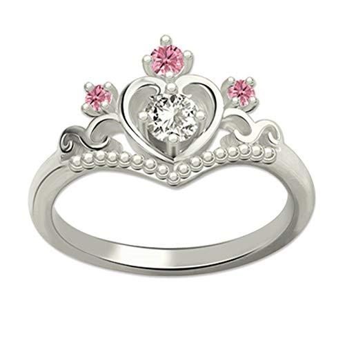 Anillo de plata de ley 925 Anillo en forma de corazón Anillo de corona Anillo de piedra de nacimiento(Plata 16)