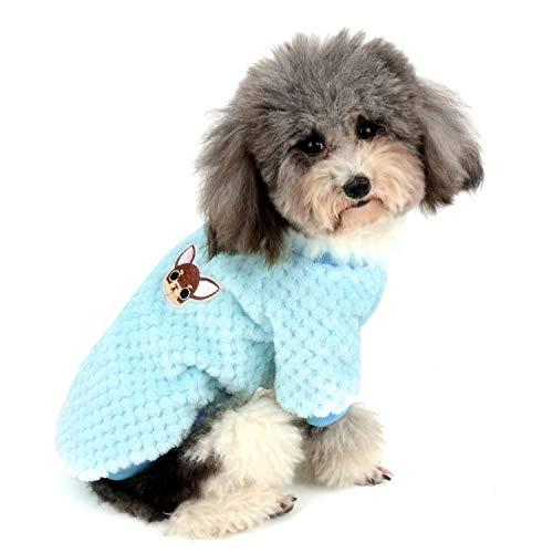 Zunea Hundepullover für kleine Hunde Fleece Warm Weich Welpen Sweater Wintermäntel Winterjacken Hunde Bekleidung Haustier Chihuahua Katzen Kleidung Blau S
