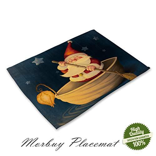 Morbuy Navidad Mantel Individual Lino Algodón, Santa