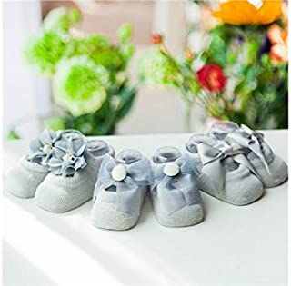 Lovely Socks 3 Pairs Children Cotton Socks Kids Spring Flower Bow-Knot Anti-Slip Floor Short Tube Socks (Purple) Newborn Sock (Color : Grey)
