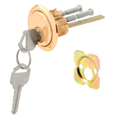 Defender Security U 9965 Rim Cylinder Lock Kwikset/Weiser with Brass Face and Diecast Housing