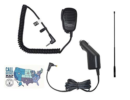 Yaesu FT-70DR Accessory Bundle - 4 Items - Includes Yaesu MH-34B4B Speaker Mic, SDD-13 Cigarette Lighter Power Adapter, Diamond High Gain HT Antenna and Ham Guides TM Quick Reference Card