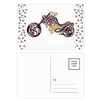カラフルなバイクアート粒のシルエット クリスマスの花葉書を20枚祝福する