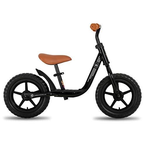JOYSTAR 10 inch Balance Bike with Footrest for Child, Girls Glider Slider Bike, No Pedal Bicycle for 1 2 3 Years Children, Birthday Gifts Toy, Black