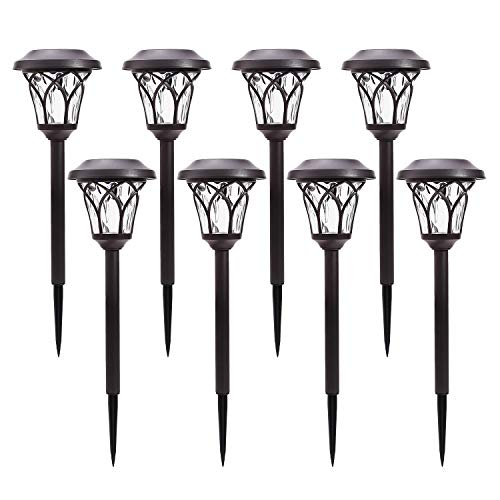 Azirier Solar Lights Outdoor Waterproof Security Lights Easy Install Garden Lights for Garden Path Walkway Light 8 Pack