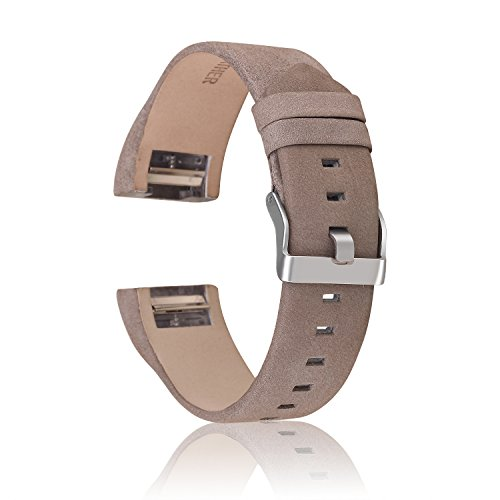 Charge 2 Armbänd, CAM-ULATA Echtes Leder Band Ersatz Armbänd Uhrenarmbänder Ersatzband Armband für Fitbit Charge 2 Sport Fitness Tracker Aktivitätstracker Sportmessgeräte, Grau