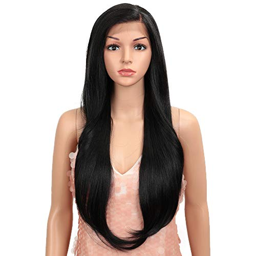 """Style Icon Easy-360 Lace Wigs 28"""" Free Part Lace Frontal Wigs Long Straight Wig Black Synthetic Wig(28"""", 1B)"""