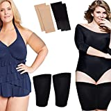 Thigh Slimmer & Arm Shapers For Women-Thigh & Arm Compression Sleeve To Tone Thighs & Arms - Slimming Wraps Flabby Thighs - Helps Shape Upper Thighs & Arms Ideal Slimming Women Weight Loss (Black+Beige)