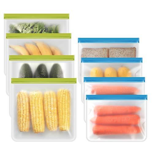 Reusable Ziplock Bags - 4Packs Gallon Bags + 4Packs Large Bags Food Storage bags Seal & Leak-Proof, BPA-FREE, Food Grade PEVA Reusable Freezer Bags for Marinate Meats, Fruit, Sandwich, Snack, Travel