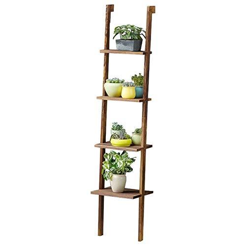 Bloemstandaard LF Houten Ladder-4 Lagen Wandplank Multilayer Ladder Bloempot Stand Bloemenplank sterk en stevig