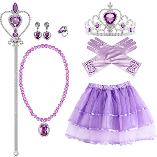VAMEI Disfraz Princesa Sofia niña Princesa Collar Corona Guantes Viste a Tiara...