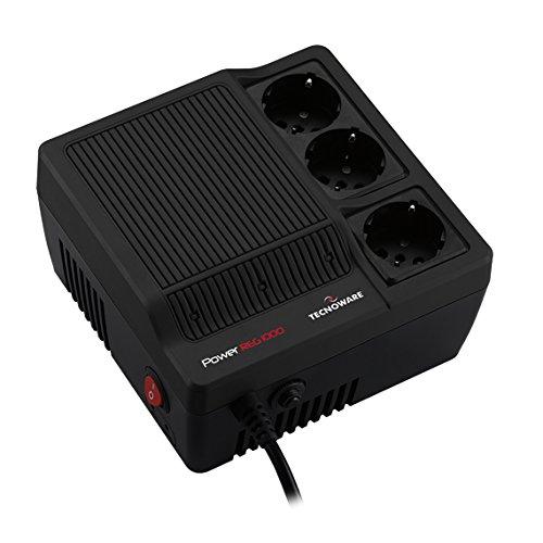 Tecnoware Power Reg - Estabilizador Electrónico Monofásico de Oficina - Estabilización ± 8% - Entrada Cable con Enchufe SCHUKO, 3 Salidas SCHUKO/Italia - Potencia 1000 VA