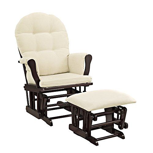 Windsor Glider and Ottoman White Finish and Beige Cushions (Espresso)