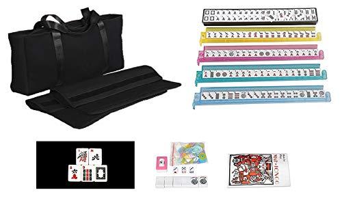 166 Tiles American Mahjong Set Black Soft Bag 4 Color Pushers/Racks Easy Carry Western Mahjongg