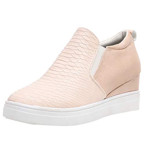 Fenverk Damen Sneaker Park Slip On Canteen Turnschuhe Ons Mit Plateau Flandell Komfortable Sneakers Bequeme Slipper Funkelnde Plateausohle Sportschuhe Gr. 35-43 (Rosa, 39 EU)