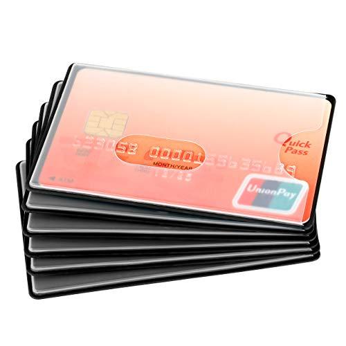 Mitavo – Protector Tarjetas RFID, Set de 6 Fundas para Tarjetas de Crédito, Tarjetas de Dinero, Girocard, Plástico, Negro Transparente