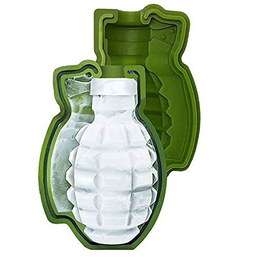 Grenade Ice Cube Mold Large 3D Grenade Chocolate Cake Mold Silicone Ice Mold for Whiskey Cocktail, Ideal for Baking (A-Small)