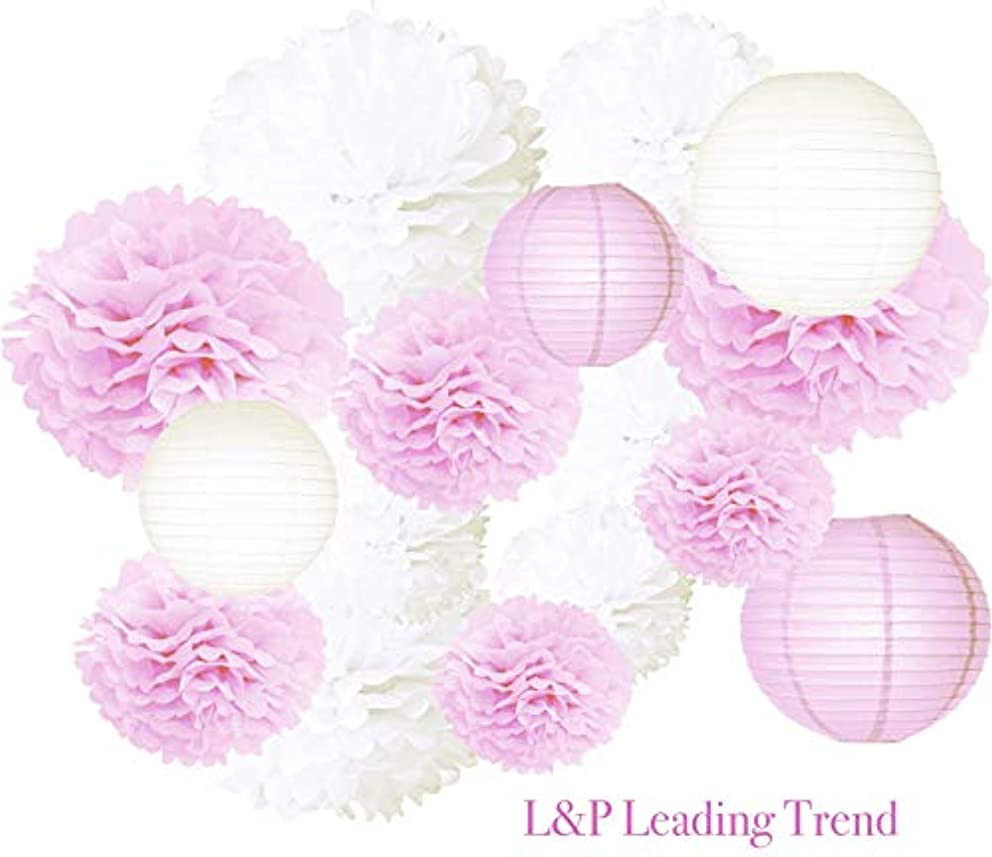 Charmed Tissue POM POMS and Lanterns Bundle for Wedding Birthday Party Baby Girl boy Nursery Room Decoration (Pink and White)