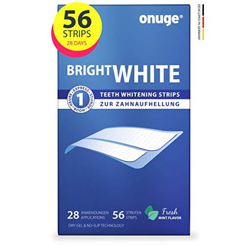 Onuge Bright White Teeth Whitening Strips – Bleaching-Strips zur Zahnaufhellung – Ohne Peroxid – 56 Streifen für 28 Tage