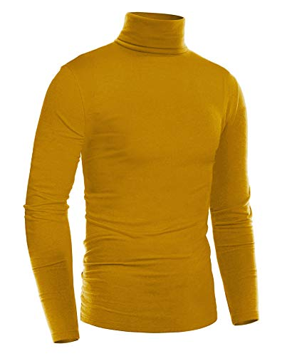 ZEGOLO Mens Slim Fit Basic Thermal Turtleneck T Shirts Casual Knitted Pullover Sweaters Mustard Yellow S