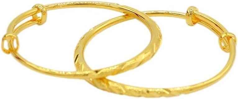 Snow scene 2pcs Dubai Baby Bracelet Gold Bracelet Child Boy Girl Peace All Year Round Bangles Sweet (Color : Gold)