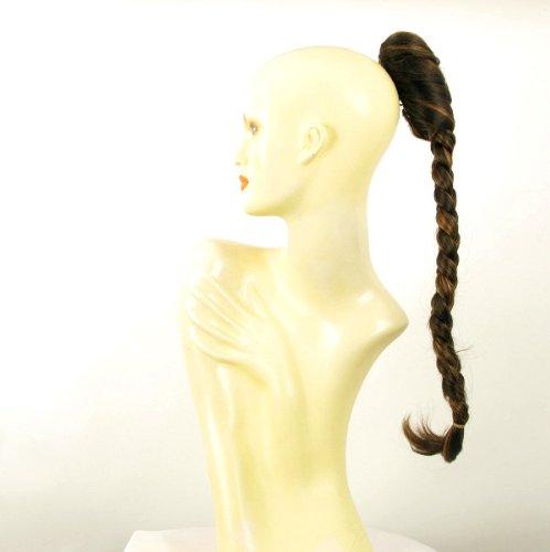 Postiche queue de cheval extension femme longue natte 50 cm chocolat méché cuivré ref 4 en 627c