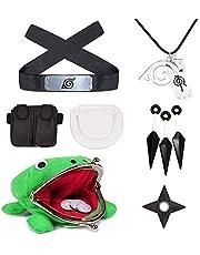 I3C Naruto Leaf - Diadema turbante de peluche de rana para monedas, colgante de collar Naruto Shuriken, juguete de plástico Kunai, bolsa ninja Anime Cosplay accesorios serie