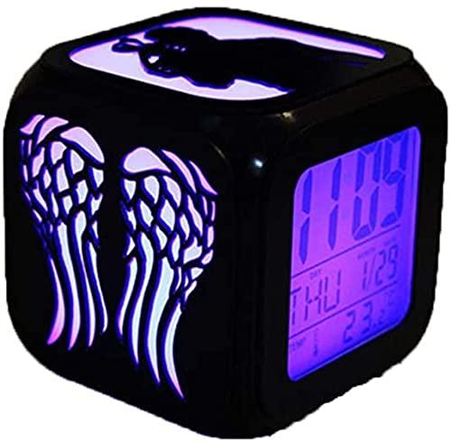 YAOJIA Despertador Digital Infantil The Walking Dead Reloj Despertador 3D Estéreo Mudo Luz De Noche LED Carga USB Reloj Electrónico Siete Colores, Dormitorio Adecuado Oficina En Casa Viajes
