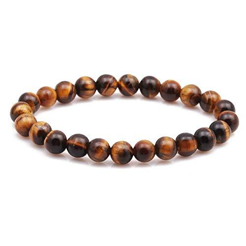 HOULAI Pulsera de cuentas de 8 mm de piedra natural ojo de tigre de lava negro ónix mate cuentas brazalete elástico encanto para mujeres hombres joyería