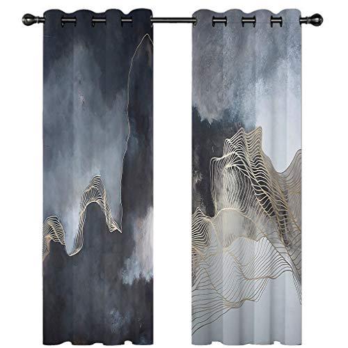 3D verduisteringsgordijnen voor slaapkamer goudgrijze zwarte inkt landschap schilderij Oogje Thermische geïsoleerde kamer verduisterende gordijnen voor woonkamer, 2 venster gordijn panelen