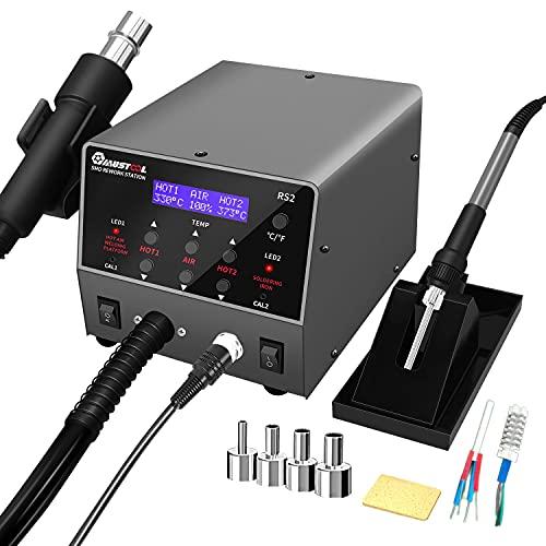 RF Electrónica, Mustool RS2 estación de soldadura desoldadora de aire caliente 2 en 1, estación de soldadura de 800 W con control de temperatura PID y función de suspensión