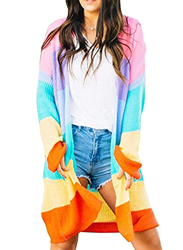 ZESICA Women's Long Sleeve Color Block Open Front Draped Sweater Cardigan with Pockets Orange