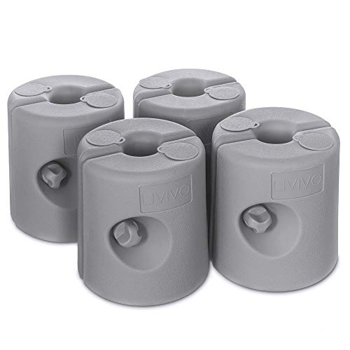 LIVIVO Set of Four Secure Leg Weights for Gazebos, Marquees, Market Stalls and Party Tents - Weather Resistant for 25mm Diameter Poles - Fill with Water or Sand (Grey)