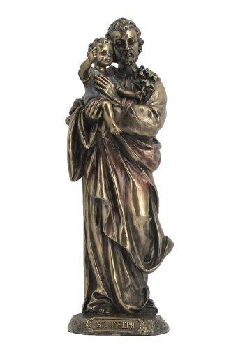 Heiliger Josef hält Jesuskind Statue Skulptur bronze