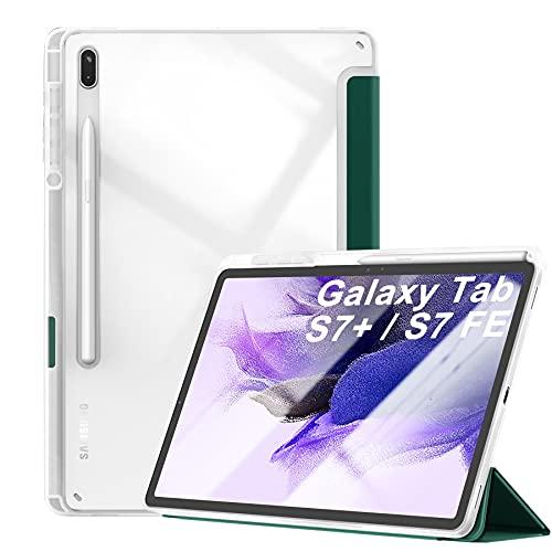 Kdely Funda para Samsung Galaxy Tab S7 FE 2021 / S7+ 12.4' Carcasa Estuche liviano de Tres Pliegues con Portalápices Soporte Auto-Sueño/Estela Case Tablet - Verde Oscuro