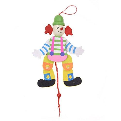 TOOGOO(R) Clown Corde de traction Jouet en bois Bras Jambes monter et descendre Jouets d' enfants- Couleur aleatoire