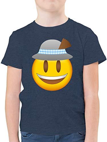 Kompatibel mit Oktoberfest Kinder Trachtenshirt - Oktoberfest Emoticon mit Hut - 116 (5/6 Jahre) - Dunkelblau Meliert - Oktoberfest - F130K - Kinder Tshirts und T-Shirt für Jungen