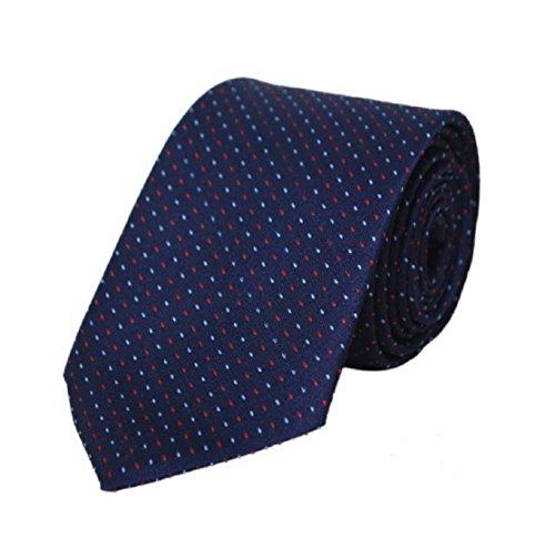 Michelangelo Boy/Men's Navy Blue White Red Pin Dot Self Design Micro Fiber Tie