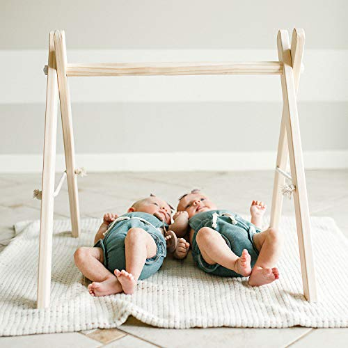 FUNNY SUPPLY Wood Play Gym Frame Foldable Baby Play Gym Frame Activity Center Hanging Bar Baby Register Gift