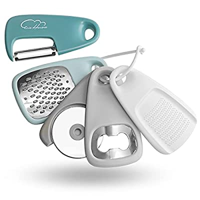 Kitchen Gadgets Set 5 Pieces, Space Saving Cooking Tools Cheese Grater, Bottle Opener, Fruit/Vegetable Peeler, Pizza Cutter, Garlic/Ginger Grinder, Stainless Steel Accessories Dishwasher Safe(Blue)… from Esie Houzie