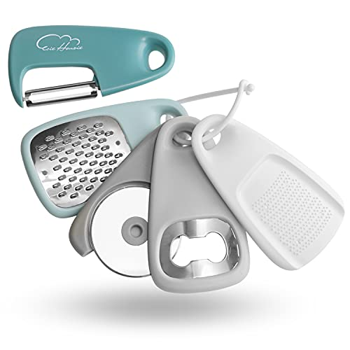 Kitchen Gadgets Set 5 Pieces, Space Saving Cooking Tools Cheese Grater, Bottle Opener, Fruit/Vegetable Peeler, Pizza Cutter, Garlic/Ginger Grinder, Stainless Steel Accessories Dishwasher Safe(Blue)…