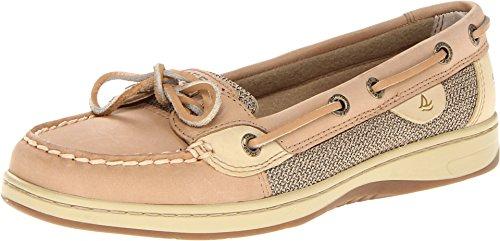 Sperry Womens Angelfish Boat Shoe, Linen/Oat, 10 Wide