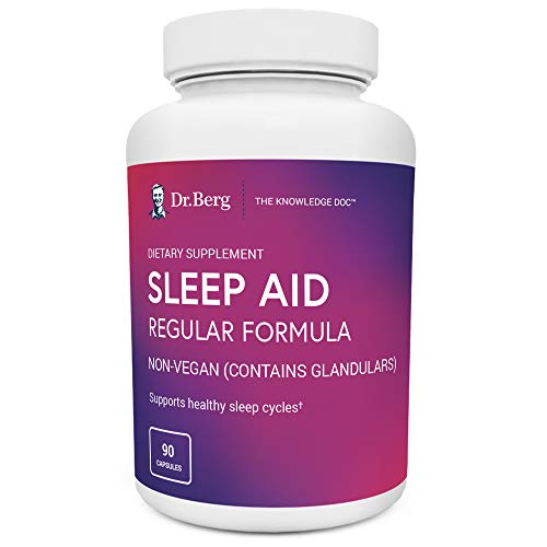 Dr. Berg Sleep Aid Regular Formula – All Natural Support for Healthy Deep Sleeping Cycles - Fatigue & Stress Relief Help Calms Body & Mind – Best Non Habit Forming Supplements (1 Pack)