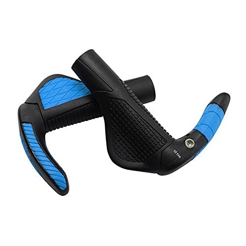 SQATDS Lock On Bike Bicycle Grips Ergonomic Soft Cycling MTB Bike Handlebar Grips Fiberglass Bar Ends Mountain Bike Handle Grips (Color : Blue)