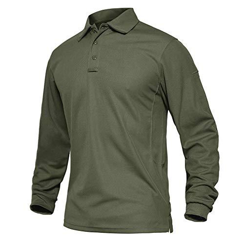 EKLENTSON T-Shirt Tactique pour Homme à Manches Longues Militaire Respirant Golf Sports Top léger Séchage Rapide - Vert - L