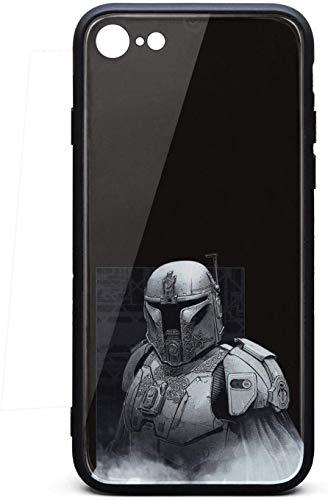 Punk - Carcasa para iPhone 6 Plus/iPhone 6S Plus, diseño mandaloriano, unisex, cristal templado, color negro, antiarañazos, goma TPU