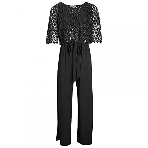 Michaela Louisa Jumpsuit with Overlay Sequin Top 16 Black