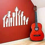 wukongsun Gitarrenhals Serie Gitarre Deko Instrument Wandaufkleber Musik Wandtattoo Gitarrenliebhaber Poster Vinyl weiß 42x30cm