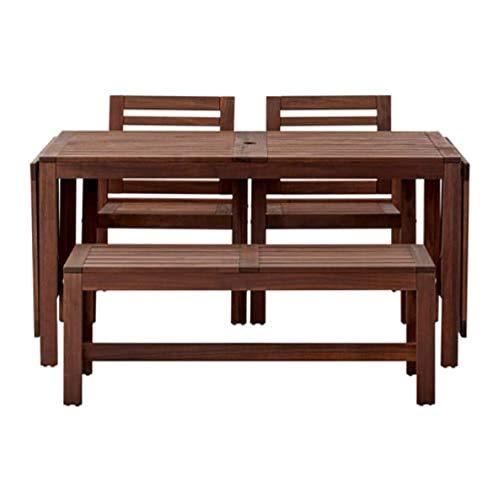 IKEA Applaro 990.539.71 - Mesa con 2 sillones y banco para exteriores, color marrón